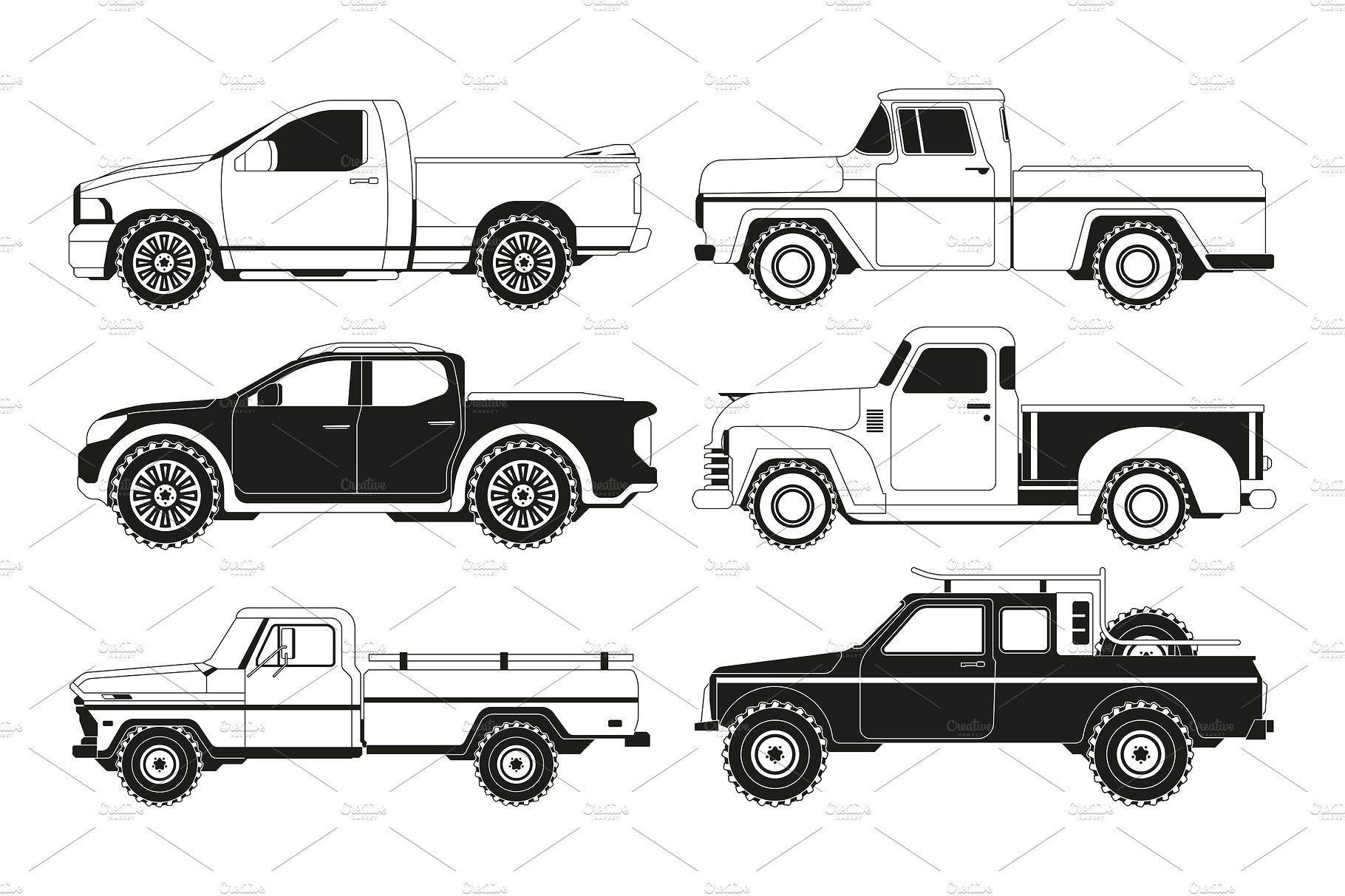 Pickup Truck Silhouettes Black Pickup Trucks Black Picture Vector Illustration