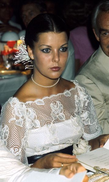 Caroline looked stunning in lace in 1976. Photo: Getty Images