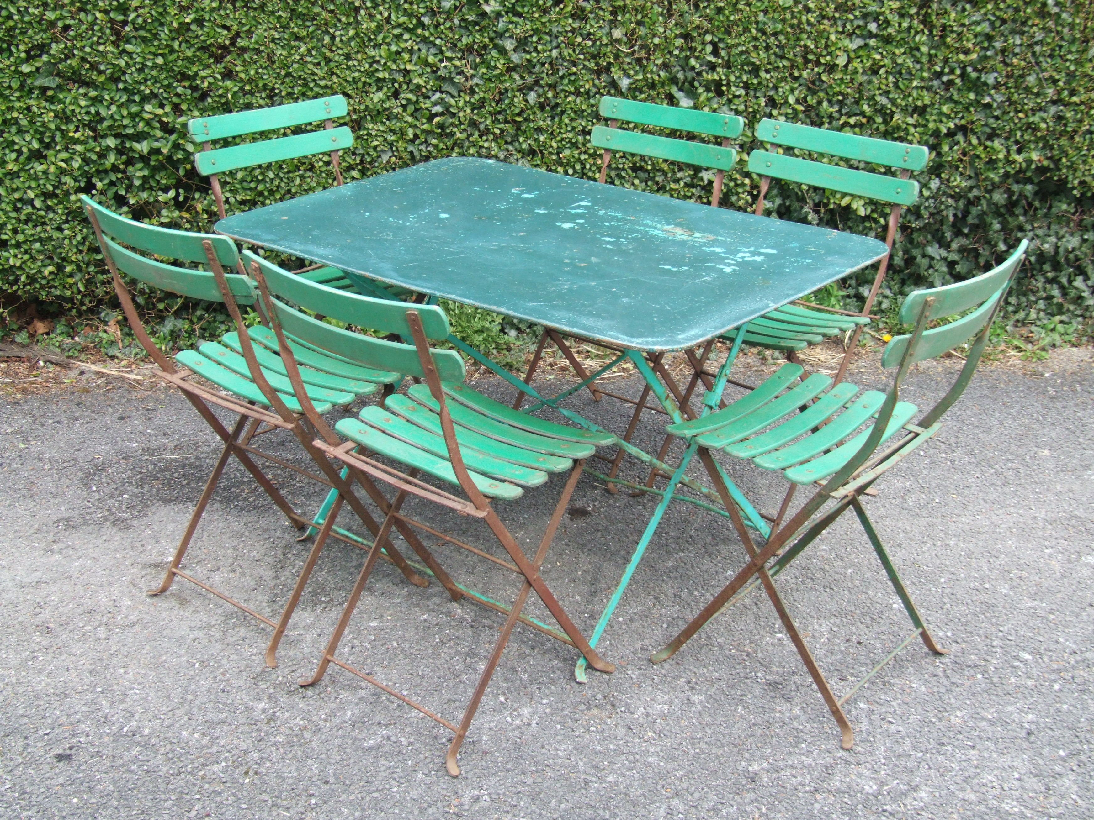 G214 vintage french 6 seater folding metal garden caf patio table la belle toffe French metal garden furniture