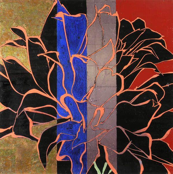 Black Flower 21st Century Op Art Set: Robert Kuhner -- Orange Dahlia, 2000. Oil, Acrylic, Gold