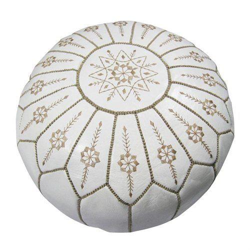 White Pouf Ottoman Leather White Jasmine Pouf Ottoman Morocco  Moroccan Inspiration