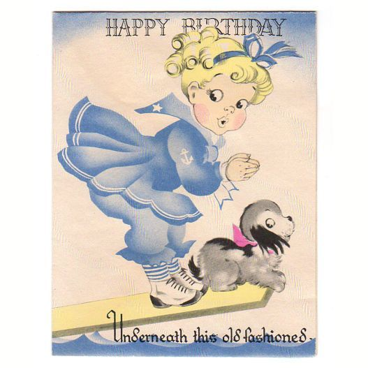 Vintage 1940s Childrens Birthday Card Little Girl Dressed In Sailor