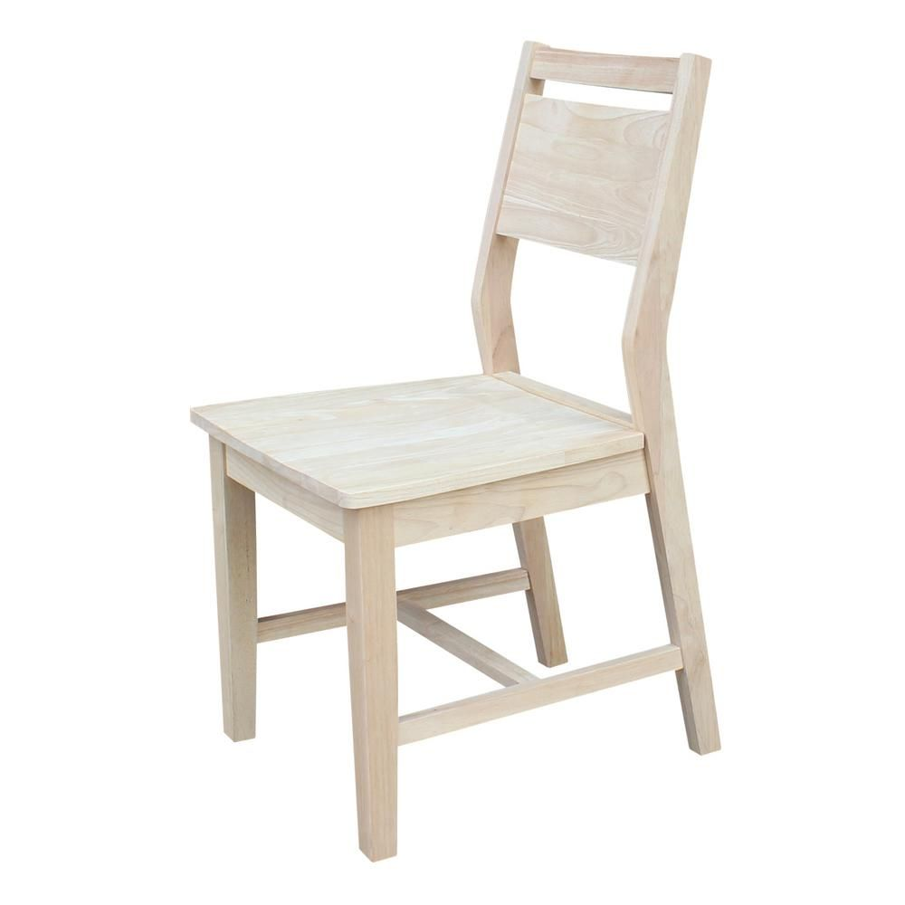 International Concepts Mid Century Modern Panel Back Unfinished Dining Chair  (Set Of 2)