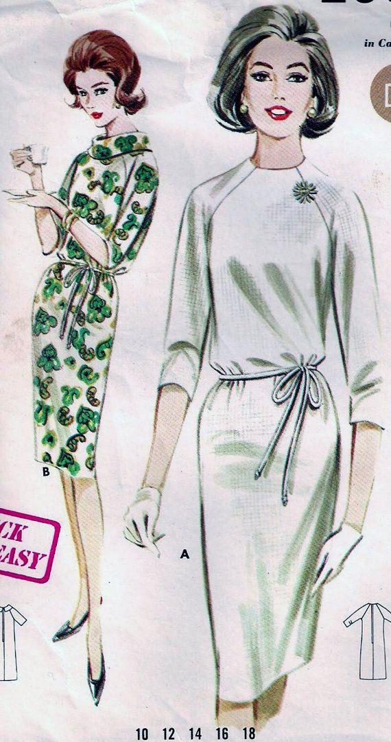 Vintage 60s Butterick 2907 Shift Dress Sewing Pattern B34 14 ...