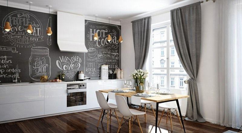 Schwarze Wandfarbe In Einer Weissen Minimalistischen Kuche Atelier
