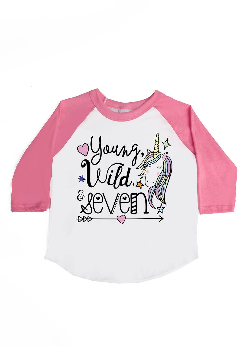 9d43e40e Young Wild and Seven - Seven Year Old - 7th Birthday - Birthday Unicorn  Shirts -