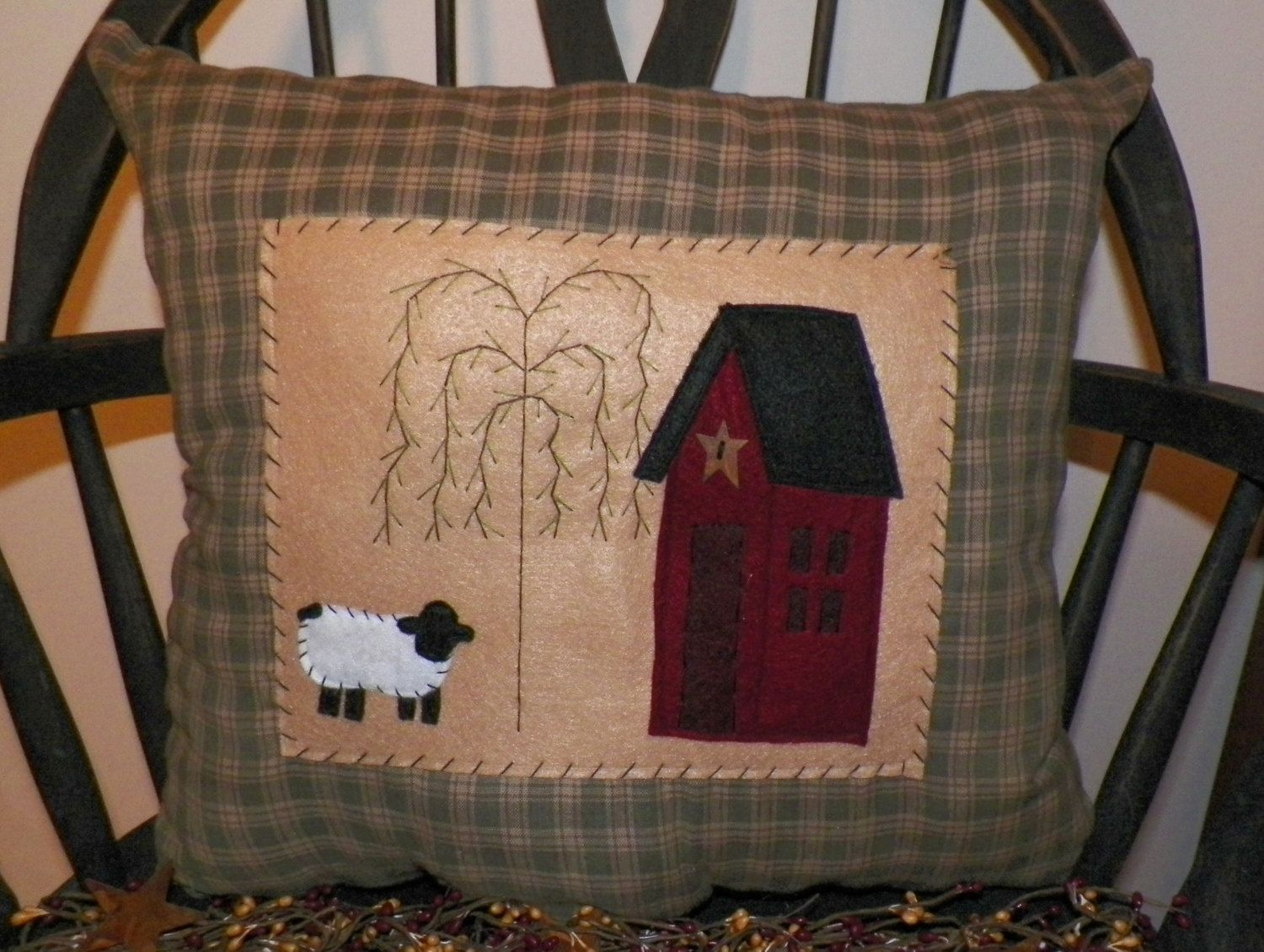 UNSTUFFED Primitive Pillow Cover Saltbox House Sheep Willow Country Rustic Decoration Decor Cushion Salt Box Green Decorative wvluckygirl - pinned by pin4etsy.com