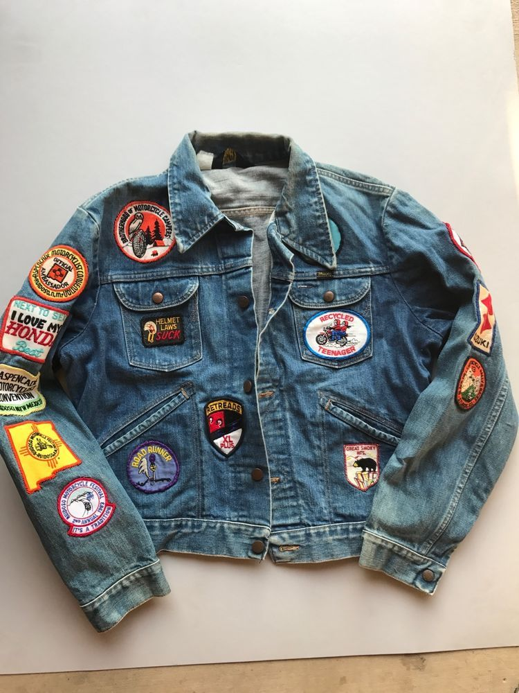 be4d994164 Vintage Wrangler Jean Jacket With Motorcycle Patches Denim Honda Suzuki  #Wrangler