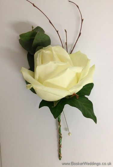 Winter Woodland Wedding Buttonhole with Cream Avalanche Rose and twigs and bound with copper wire Wedding Flowers Liverpool, Merseyside, Bridal Florist, ...