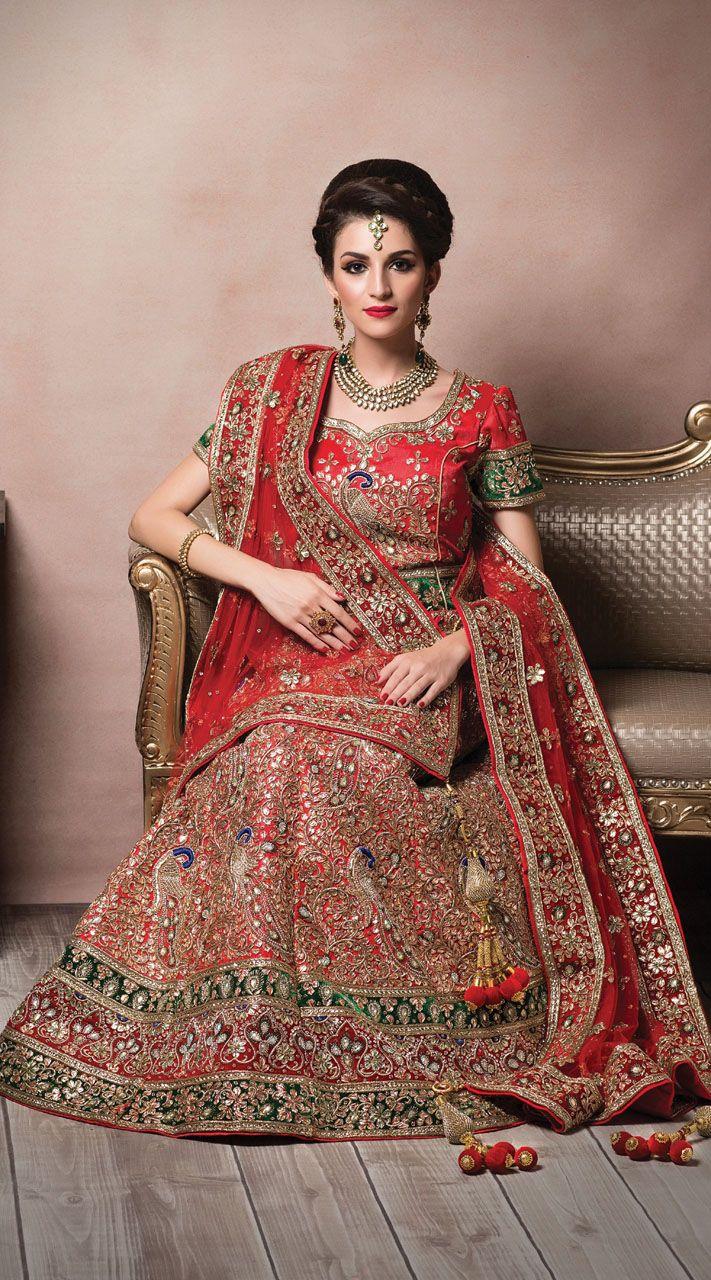 e4233af4c Peacock Heavy Work Red Net Indian Rich Look Bridal Lehenga | Bridal ...