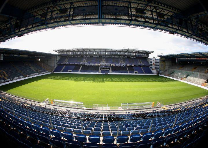 Seamless Vinyl Photography Backdrop Football Stadium Match: Armenia Bielefeld / Bielefelder Alm