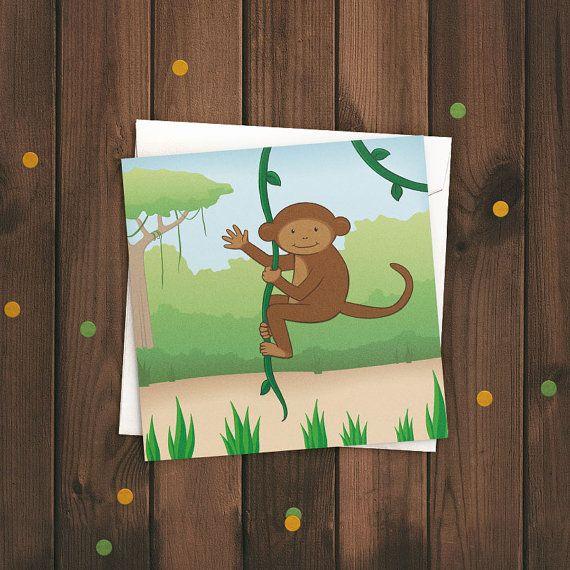 Cheeky monkey greetings card cute kids illustrated jungle birthday cheeky monkey greetings card childrens illustrated birthday card m4hsunfo