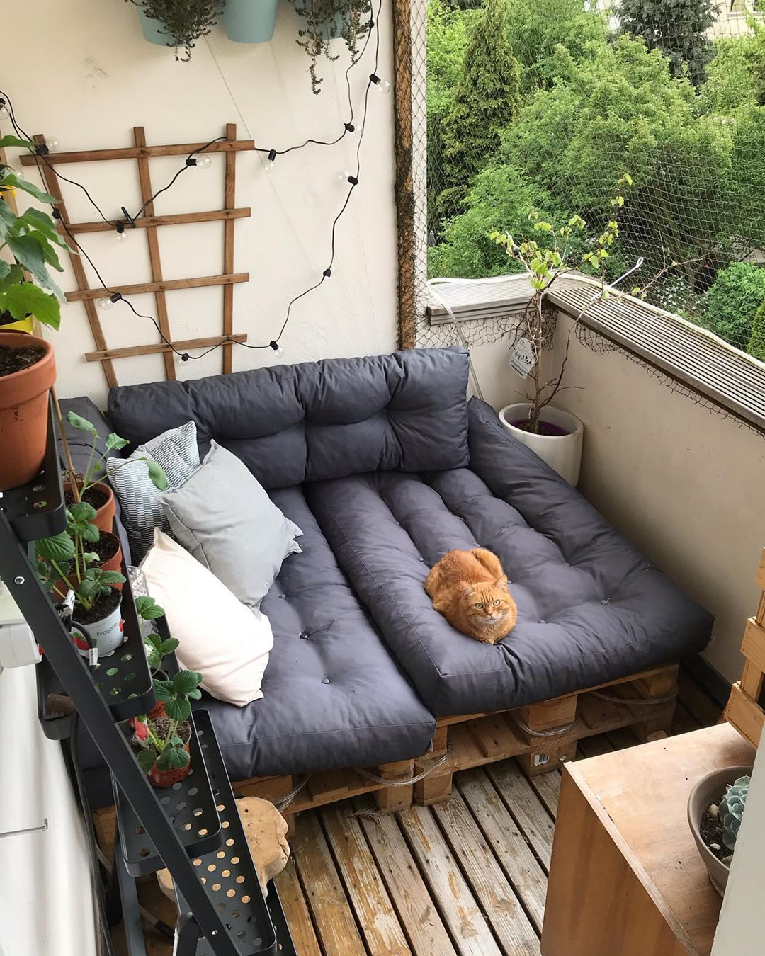 wood pallet day bed // net protected patio to keep kitty