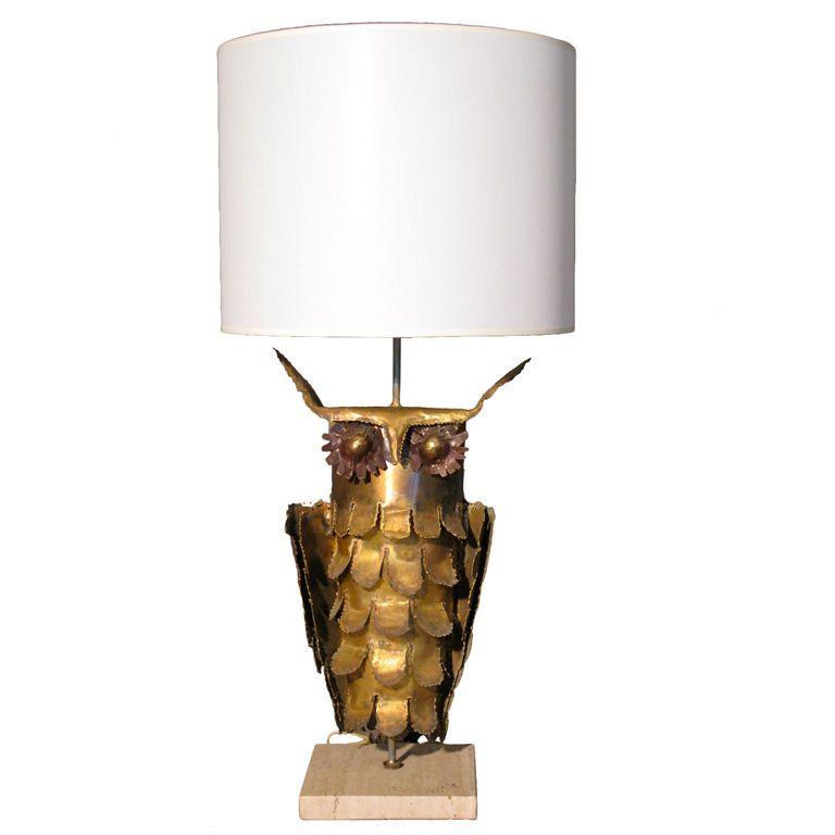 Curtis Jere Style Brass Owl Lamp C 1970 S 1stdibs Com Owl Lamp Lamp Vintage Table Lamp
