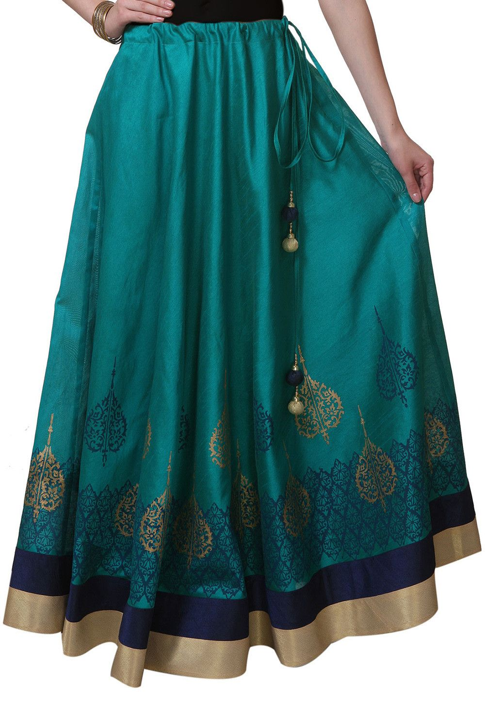 Block Printed Art Silk Long Skirt In Teal Blue | Indian clothes ...