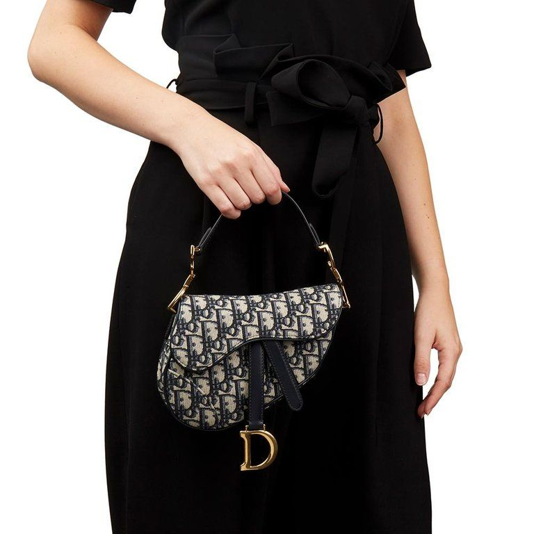 89df73e21d3 2018 Christian Dior Blue Oblique Monogram Canvas Mini Saddle Bag For Sale 6