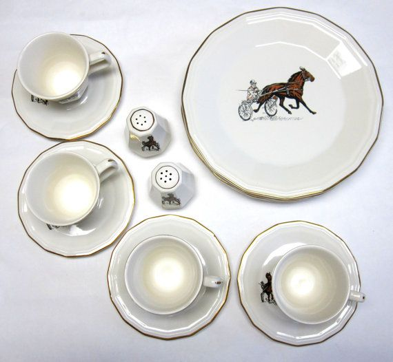 Dinnerware Set White Harness Racing Horse by sweetie2sweetie $37.99 & Dinnerware Set White Harness Racing Horse Equistrian Set For Four ...