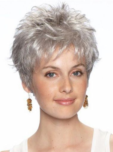 Fashion Wavy Cropped Synthetic Grey Wigs For Cancer in 2019 ... 4a661be29095