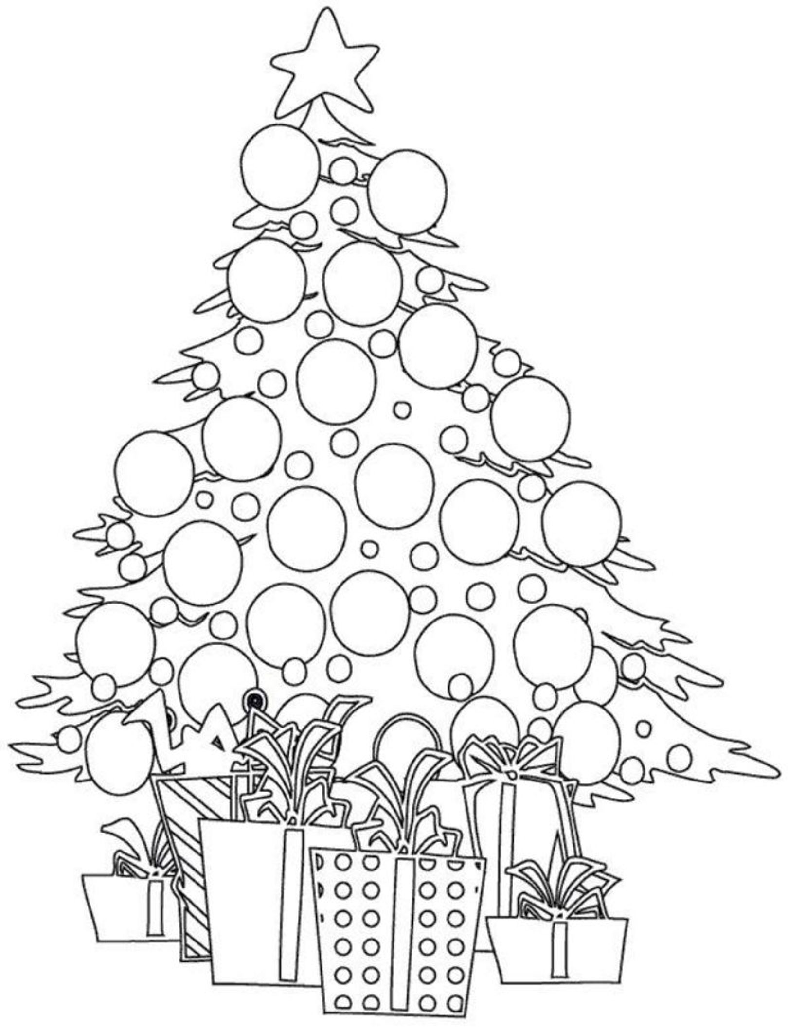 Tree And Presents Christmas Coloring Pages For Kids Christmas