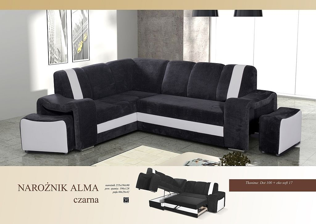 Left right hand corner sofa bed with pouf alma fabric & faux