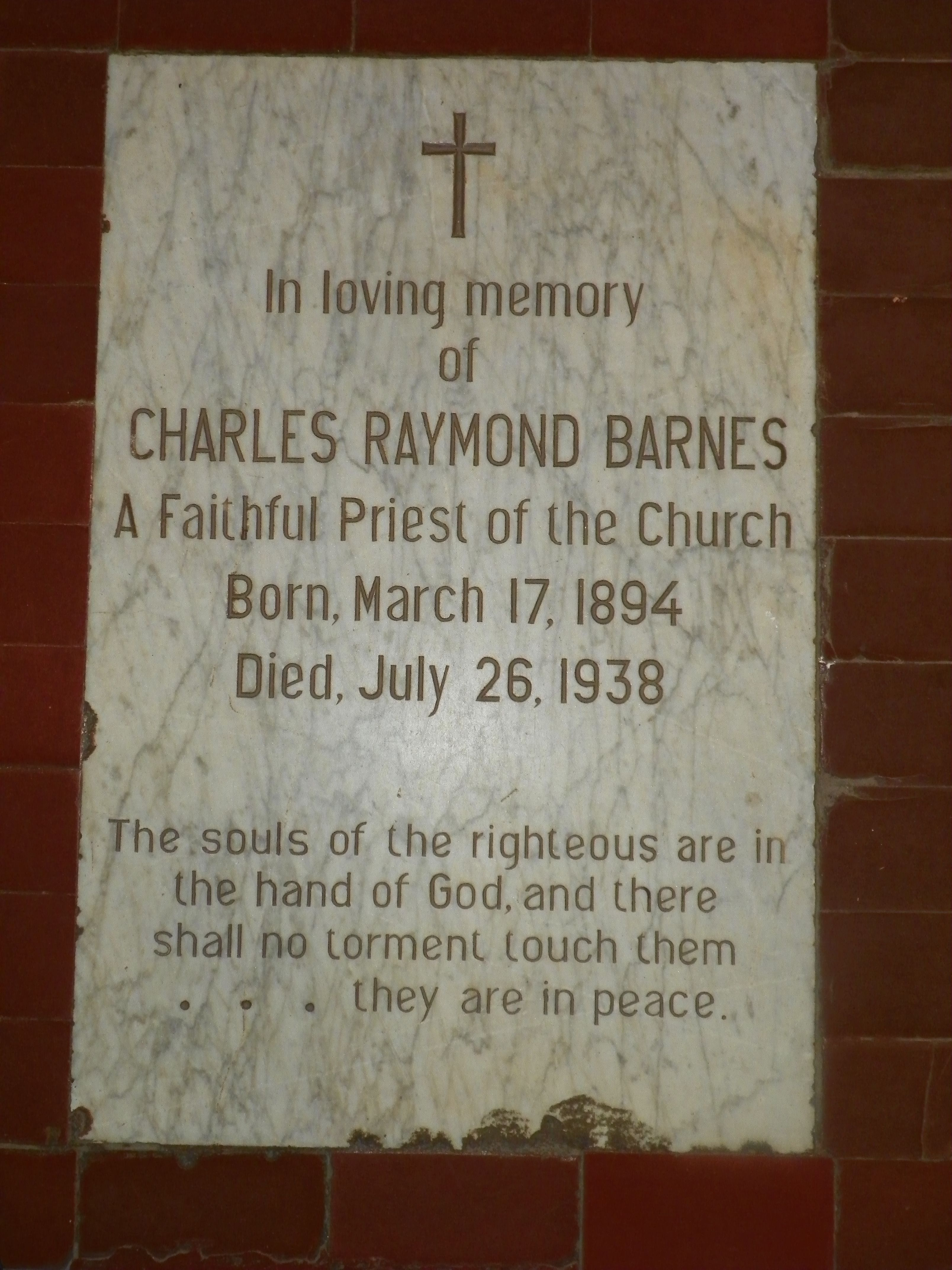 Iglesia Episcopal de la Epifania, Santo Domingo, Dominican Republic~ The tablet that marks the burial place of Father Barnes. His last act was the sacrament of the Eucharist. Now, every time one partakes they do so over Father Barnes, an Episcopal Martyr.