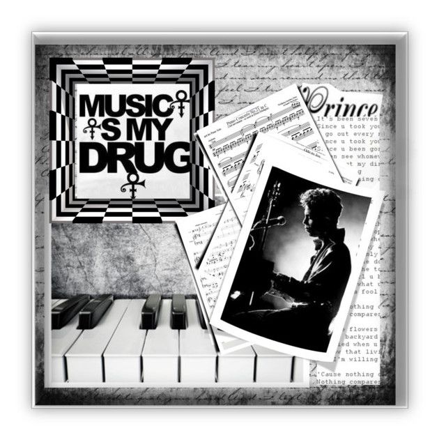 """""""Music is My Drug"""" by conch-lady ❤ liked on Polyvore featuring art"""