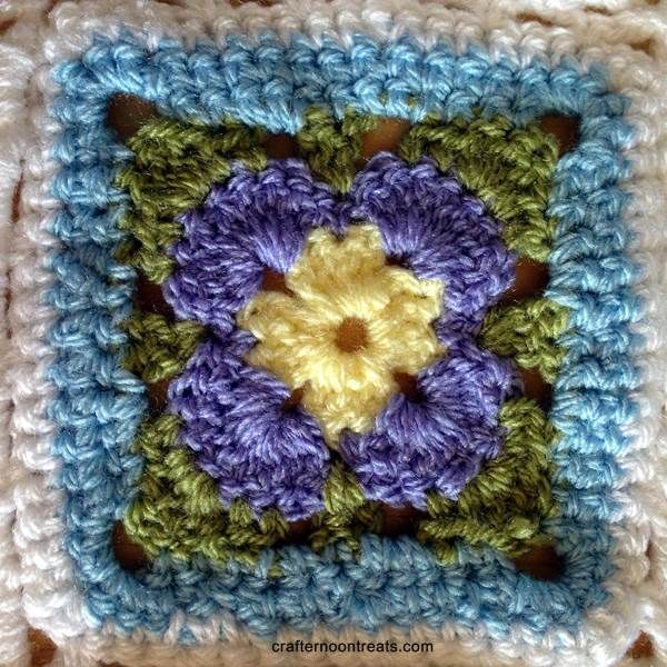 Spring Flower blanket square back005 | Carrés Au Crochet | Pinterest ...