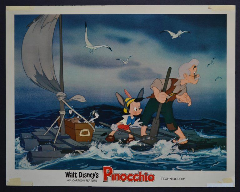 Unknown Pinocchio Original American Lobby Card Of Walt