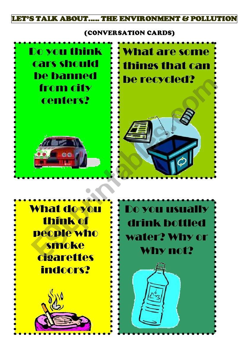 12 speaking cards topic environment pollution in 2020