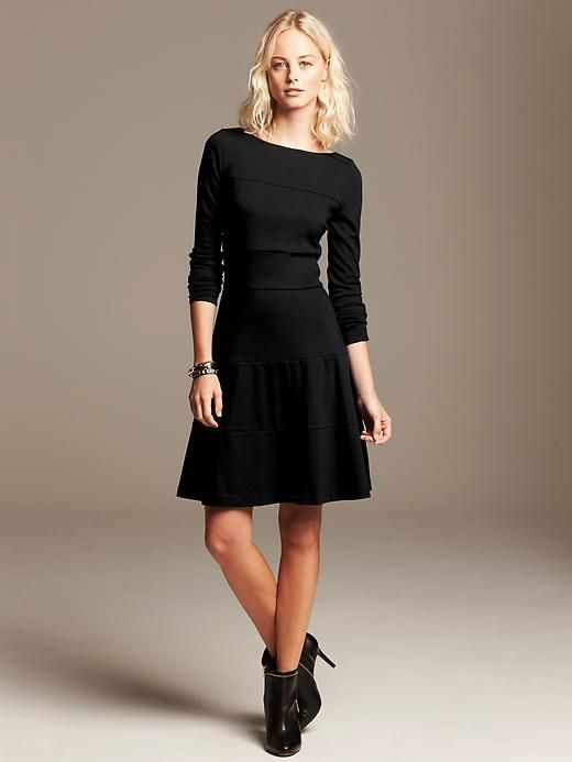 Seamed Ponte Fit And Flare Dress Product Image Petite