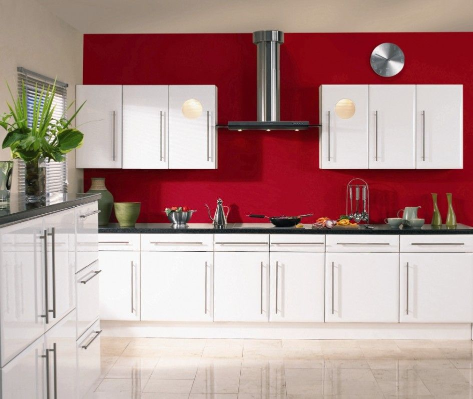 exciting red kitchen decor | Stunning White Gloss Kitchen Cabinets Ideas : Excellent ...