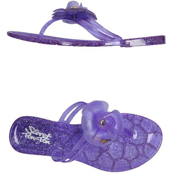 Secret Pon-pon Thong Sandal ($51) ❤ liked on Polyvore featuring shoes, sandals, purple, glitter sandals, flower sandals, purple glitter shoes, flat shoes and purple flat shoes