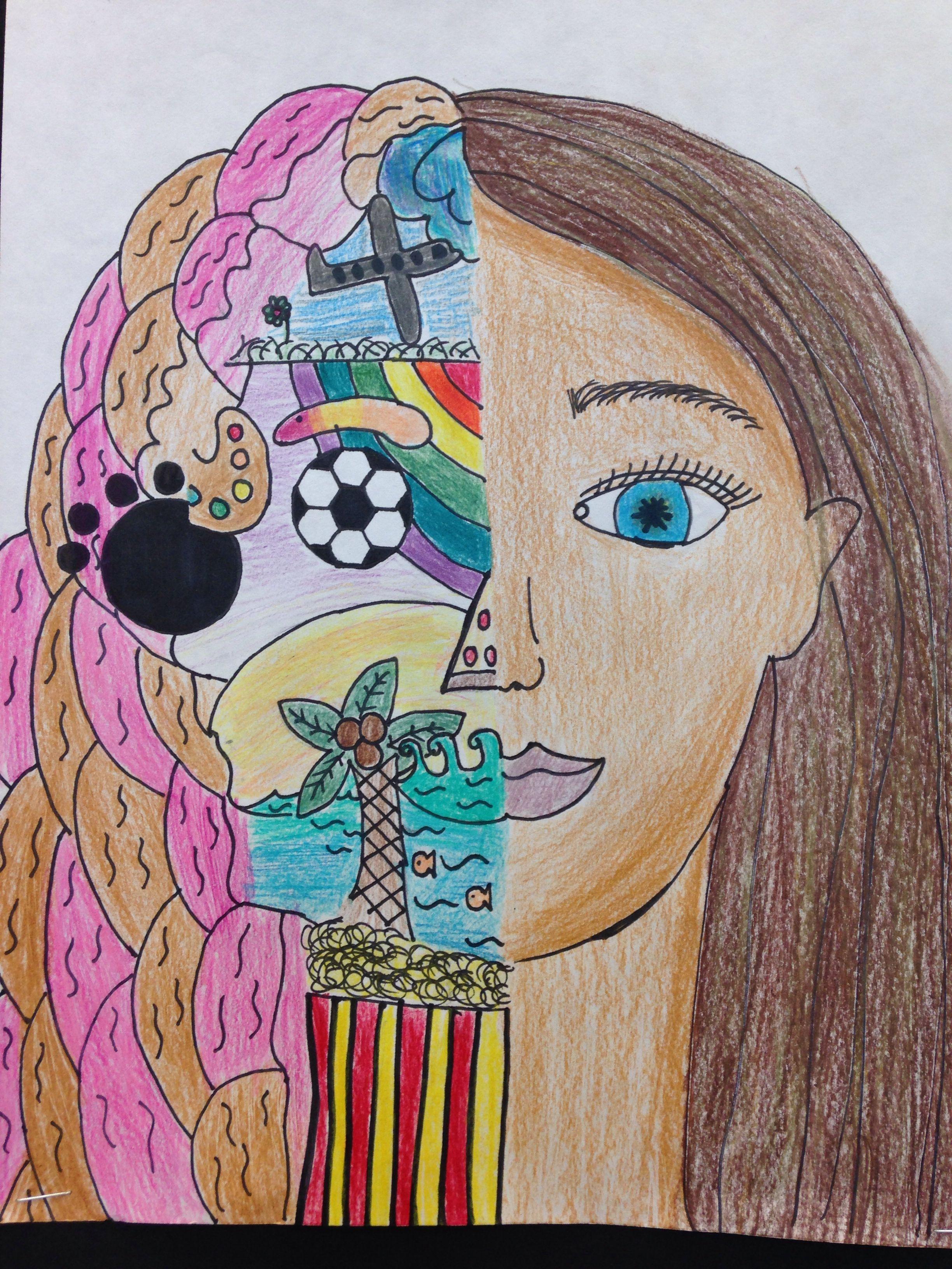 split face self portrait teacher ideas pinterest portraits