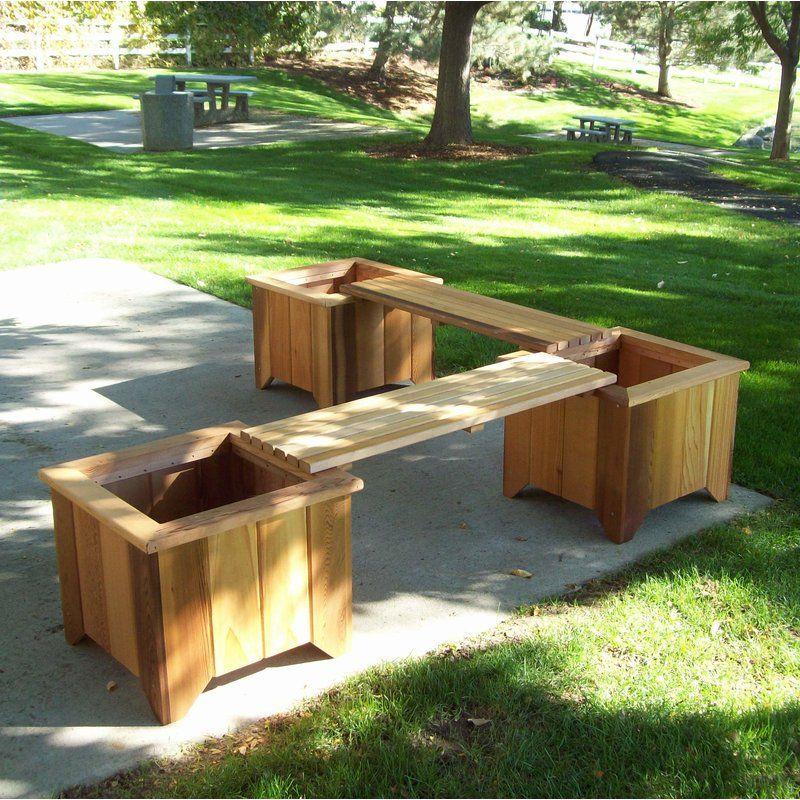 WoodCountry Wood Planter Bench & Reviews Wayfair