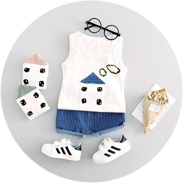 High Quality Baby Boy Clothes 2017 Summer Cotton Baby Clothing Set 2pc For 1 2 3 Years Old Boys Vest Suit A021 108 Deti Dlya Detej