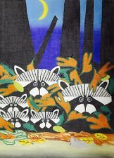 RACOONS EVERYWHERE  ~~  Hand Painted Needlepoint Canvas by Maggie
