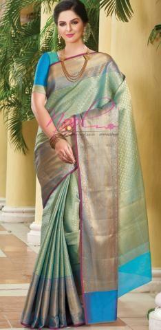 456bf7542d Silk Cotton Sarees Blue Zari Jacquard Amazon Flipkart C.13.H.23 ...