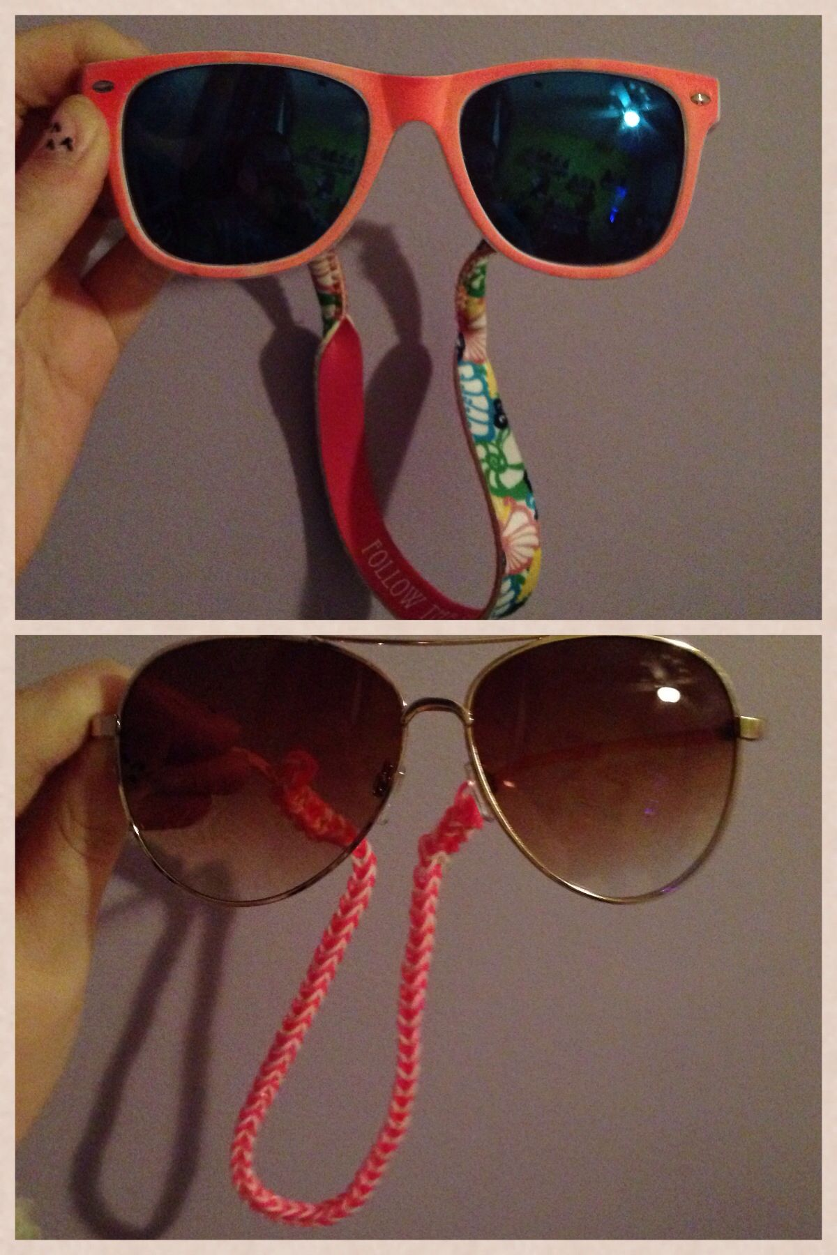 Ok so I needed a new lanyard thing for my sunglasses cause my Lilly Pulitzer ones were too stretched to put on my new ones. So I decided why not make one! All I did was just rainbow loom like I was gonna fishtail a bracket and made it long enough to put it on my sunglasses. Just loop it through the ends.
