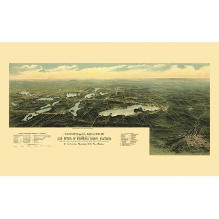 Vintage Map of Oconomowoc Wisconsin 1890 Waukesha County Canvas Art - (18 x 24)