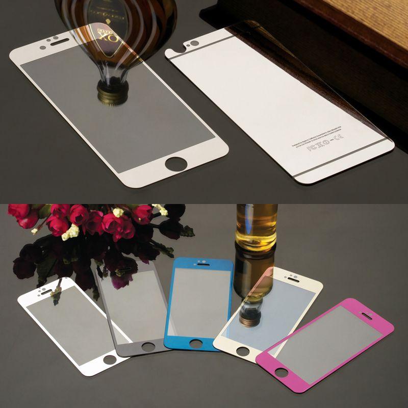 다채로운 강화 유리 필름 아이폰 4 4 초 5 5 초 5se 6 6 초 6 플러스 화면 보호기 금속 도금 미러 필름 2 개 전면 + 위로