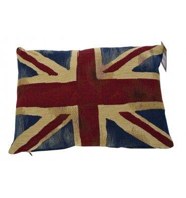 Regalos. Cojín bandera de Inglaterra vintage. Union Jack