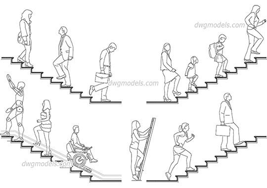 People on the stairs dwg, cad file download free. | drafting tools ...