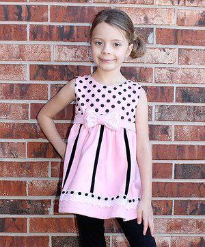Loving this Rainbow Hearts Boutique White & Pink Polka Dot Wool-Blend Sleeveless Dress - Girls on #zulily! #zulilyfinds