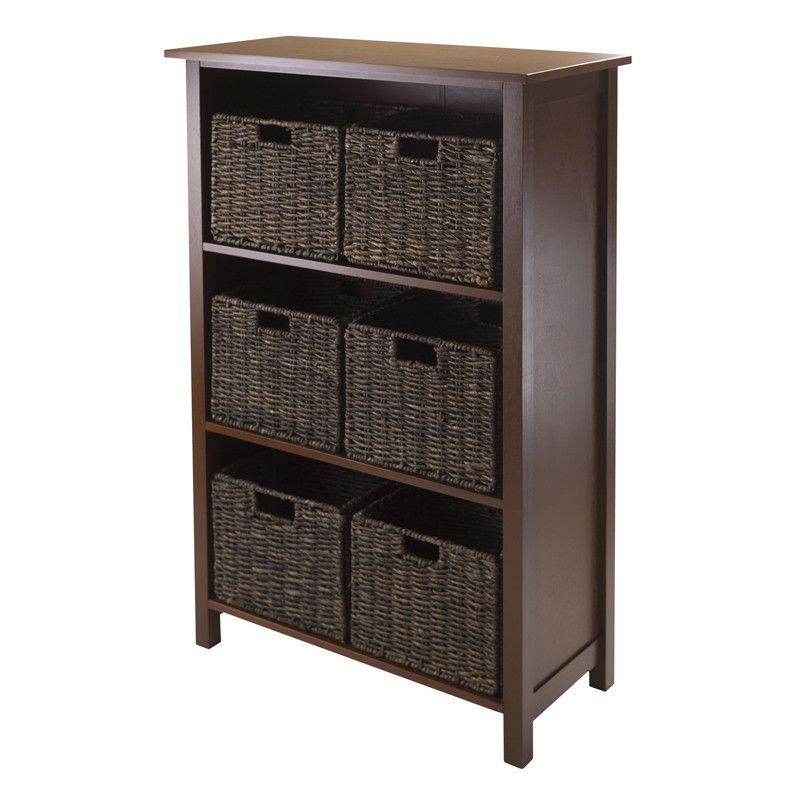 Winsome Wood 94181 Granville 7pc Storage Shelf, 3-section with 6 Foldable Baskets