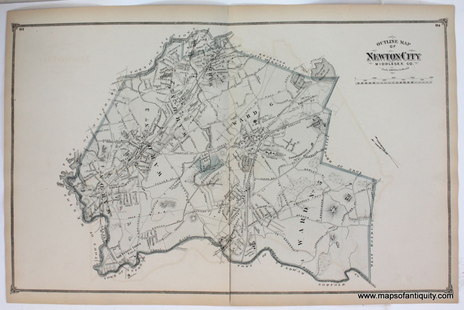 Outline Map of Newton City Middle Co. (MA) - Antique Maps and ... on