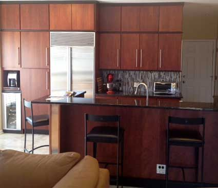 Kitchen with island in Geneva IL. Quality Cabinets Inc. in Geneva IL. Fieldstone Cabinetry Tempe door style in Cherry finished in Paprika. & Kitchen in Geneva IL. Designed by I.B. Quality Cabinets Inc. in ...