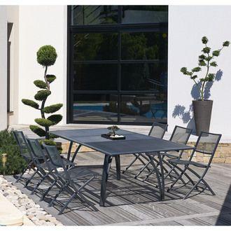 588€ Table de jardin aluminium avec rallonge papillon et renforts en ...