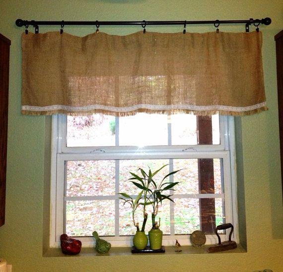 Vintage Charm Lace Burlap Window Valance With Fringed Bottom On