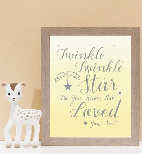 Twinkle Twinkle How Loved You Are in Lemon. Kids wall art and wall prints.  Shop Love JK for nursery decor and nursery ideas.
