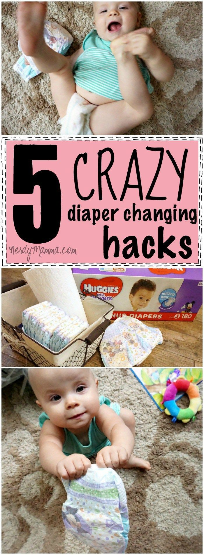 OMG! I love these 5 crazy diaper changing hacks! They're so easy--I can't believe I didn't think of them...and the trick with the pillow cover Genius. #geniusmomtricks